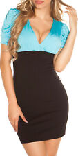 SeXy Miss Damen V Mini Kleid Stretch Party Raff Dress blau Schwarz S 34 M36 L 38