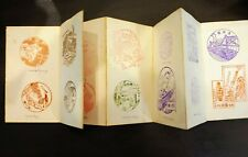 Antique Japanese Stamp / Seal Travel Accordion Book  1910 - 1927