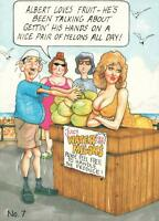 VINTAGE ADULT SAUCY HUMOUR WOMAN MELONS TITS BOOBS BREASTS JOKE POSTCARD