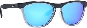 Calcutta Cayman Sunglasses Shiny Black Frame Fade to Blue Blue Mirror Lens