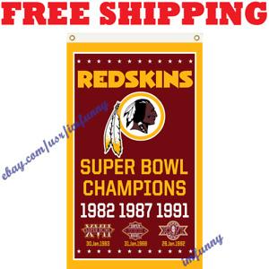 Washington Redskins NFL Super Bowl Champion Memorable Flag Banner 3x5 ft 2020