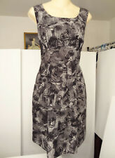 Banana Republic Abstract Graphic Floral-Print Silk/Wool Sleeveless Dress-4-6