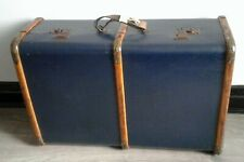A Fabulous Blue Vintage Steamer Travel Trunk/ Chest Wooden Bound metal