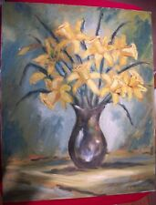 Flowers in Vase Oil Painting on Canvas Signed By E Di Giovanni