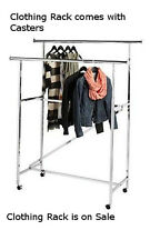 DOUBLE RAIL Garment RACK CHROME with Casters and Z Brace