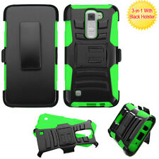 For LG K7 / Tribute 5 -GREEN Hybrid Hard&Soft Armor Case Cover Holster Belt Clip