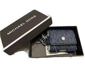 Michael Kors Unisex Airpod Earbud Case on Key Fob Blue Signature MK Gift Box