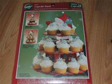 """WILTON 3-TIER SANTA CUPCAKE STAND 12"""" WIDE X 15"""" HIGH HOLDS 24 CUPCAKES"""