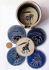 Carved soap stone coaster set African animals elephant hippo zebra 6 drink mats