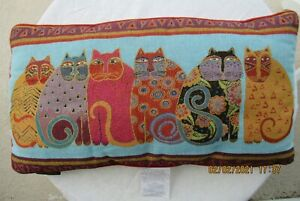 "Laurel Burch Rectangular 13""x 24""-6 Cat Accent Pillow Multicolored Velvet Back"