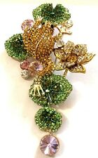 """Frog Lotus Water Lily Austrian Crystal Brooch Pin Animal Flower Gold Tone 4.09"""""""
