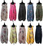 Womens Big Floral Italian Lagenlook Long Boho Pocket Linen Ladies Tunic Dress