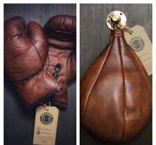 Retro Reborn Vintage Tan Brown Leather Boxing Gloves + speed bag + Swivel Hook