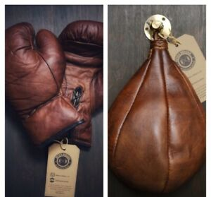 Retro Reborn Vintage Tan Brown Leather Boxing Gloves + speed bag + Swivel Hook