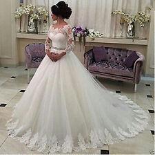 Custom New long Lace sleeve Bridal Gown Wedding Dress 6-8-10-12-14-16-18++
