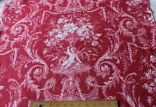 Antique c1870-80 French Printed Cherubs & Roses Victorian Cotton Fabric Panel