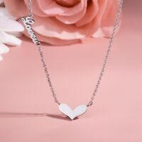Love Heart 925 Sterling Silver/Rose Gold Double Pendant Chain Necklace
