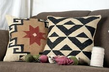 2 set of Indian Vintage Jute Kilim Cushion Cover Decorative Rug Pillow Dorm 8009