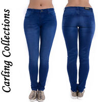 Ladies Womens Denim Stretchy Jeans Skinny Fit Cotton Mid Rise Pants Trouser Size