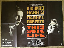 THIS SPORTING LIFE ORIGINAL UK QUAD FILM POSTER RARE! RICHARD HARRIS