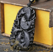 1pcs obsidian 4 fish pendant necklaces Charm Men Beautiful energy Gift rope