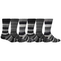 6 Pairs Mens Cotton rich Berlin Giovanni Cassini Striped Socks 6-11 uk, 39-45 eu