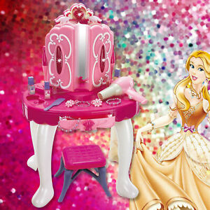 Girls Light Glamour Mirror Dressing Table Set Vanity Fun Role Play Toy Xmas Gift