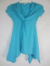 Boston Proper Turquoise Blue Stretch Long Blouse Shirt Women's 2XS  CC328