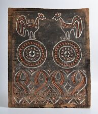 Antique Indonesian Toraja Chickens panel carved wood, pigment paint, wall cover
