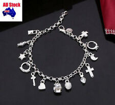 13 charms Womens Girls Charm bracelet +Jewellry Gift Bag Classic Silver Plated