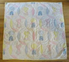 Vintage Sunbonnet Sue Sam Baby Blanket Quilt Hand Quilting on Panel