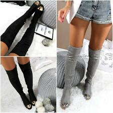 Ladies Over The Knee Boots Grey or Black Low Heel Metal Capped Toe Size