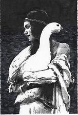 original drawing 20 x 29,5 cm 228BJ art samovar modern ink woman with a goose