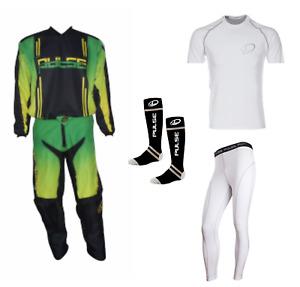 PULSE GREEN SYNERGY MOTOCROSS MX ENDURO QUAD BMX MTB KIT + BASE LAYERS & SOCKS