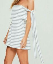 648847abb5d B 145  Missguided White Striped Bardot Tie Side Double Layer Playsuit Size  Uk8
