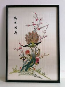 Vintage Oriental Silk Embroidery Framed Picture Birds In Tree