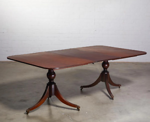19th century Regency style double pedestal dining table