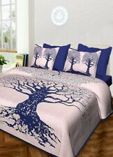 100% Cotton Hand Printed Indian Double Tapestry Bedsheet with 2 Pillow Covers A