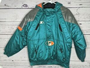 NFL Pro Line Starter Miami Dolphins Vintage 1/2 Zip Insulated Jacket Size Medium