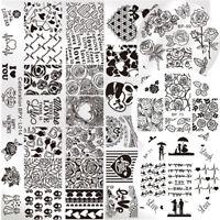 5Pcs Nail Stamping Image Plates Template Valentine's Day Rose Nail Art Stamp Kit