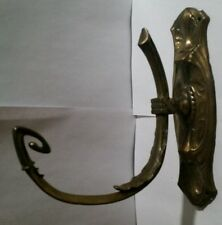 ANTIQUE BRASS HOOK FOR CURTAIN TIE BACK OR LANTERN HANGER ORNATE DESIGN 9""