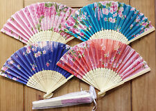 1x Colour Flower Chinese Silky Folding Hand Fans, Wedding, Party,21cm,Free Bag
