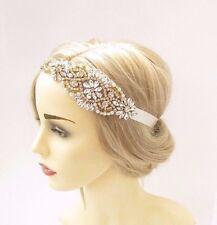 Gold Silver Ivory Pearl Diamante Bridal Headpiece Headband Wedding Ribbon 3347