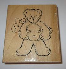 "Beary Sunny Summer Rubber Stamp Floaty Swimming JRL Design EUC Teddy Bear 3.5"""
