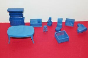 VINTAGE SUPERIOR MARX DOLL FURNITURE BLUE 10 PIECES IN GOOD CONDITION