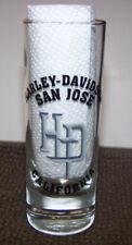 """Harley Davidson HD San Jose Cailfornia 4 1/4"""" Tall Shot Clear Glass Made in USA"""