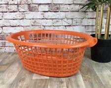 Vintage 1970's Orange Oval Laundry Basket Retro Washing Storage Bin Film TV Prop