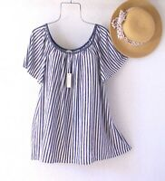 New~$68~Navy Blue & White Stripe Peasant Blouse Shirt Boho Plus Size Top~2X