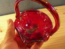Fenton Dorothy Taylor Encore Embossed Kittens Cat Red Carnival Glass Basket #2