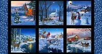 "24"" Fabric Panel - Country Christmas Town Snowman Blocks - Elizabeth's Studio"